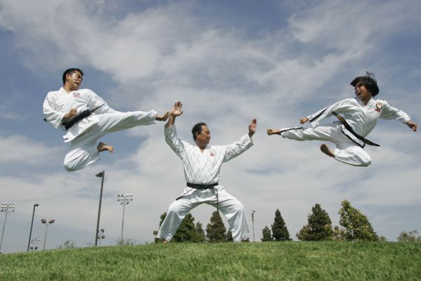Duc dang taekwondo jumping side kick